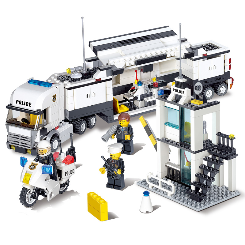 KAZI Police Command Center Truck Action Model Building Blcok Set Brick Collectible 2017  DIY Toys Gifts For Children legoing chaos warriors caves 70596 ninja series 1307 building blcok set brick compatible 10530 toys for children gift