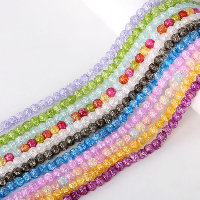 Top quality 63PCs Mixed 6mm Colorful plain color Crackle Acrylic crack round beads Ball Broken Crack