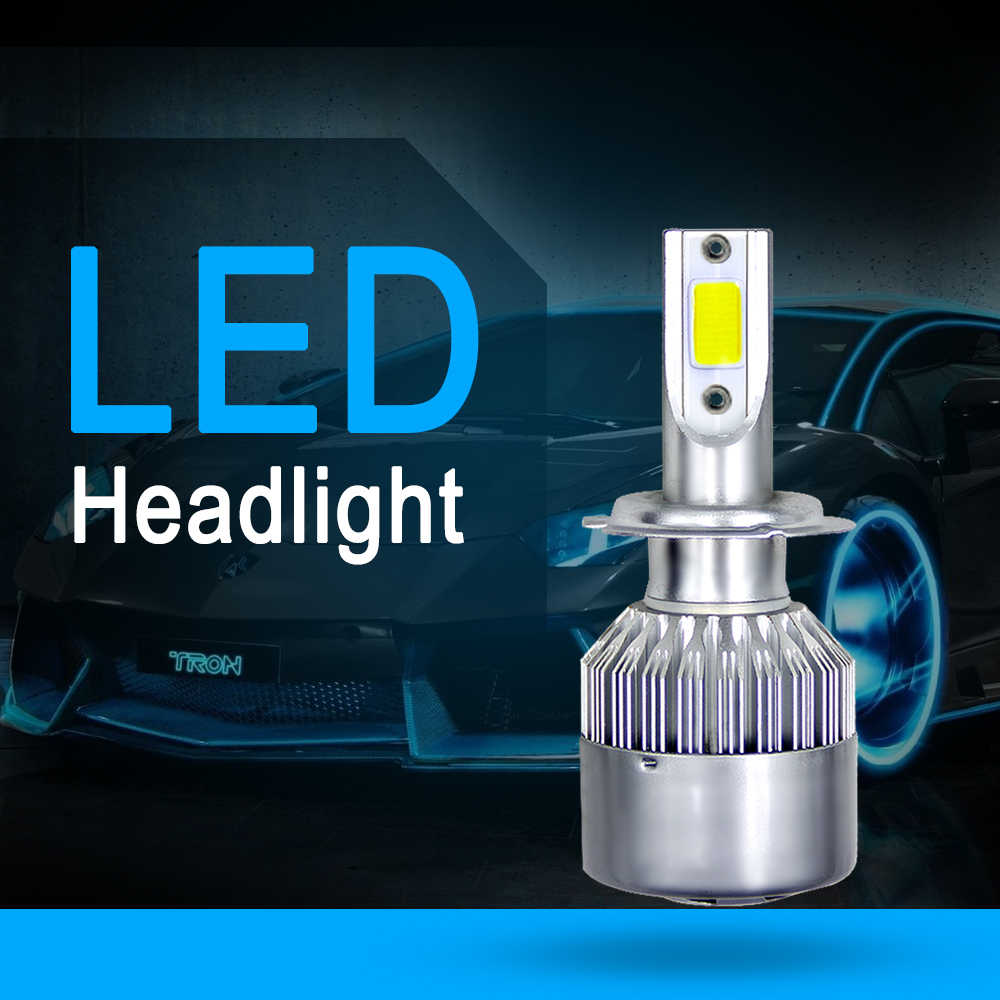 Elglux 2Pcs LED Car Headlight Kits COB Chips H4 H7 HB3/9005 HB4/9006 H1 H3 H11 72W 7600Lm Auto Lamp Fog Lights 12V 24V 6000K