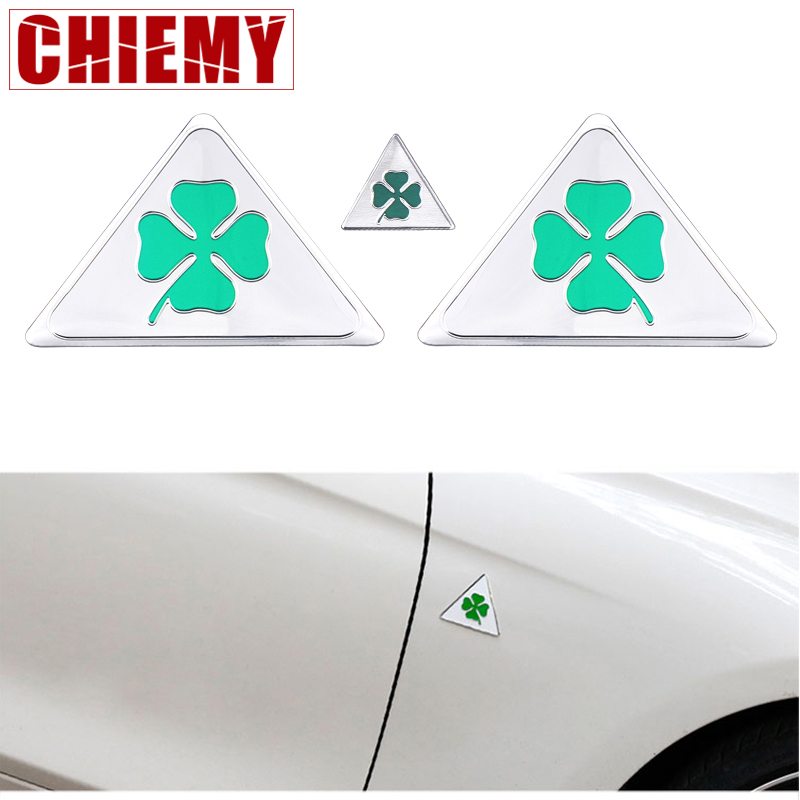 3pcs Quatrefoil Green Delta For Alfa Romeo 147 156 166 159 Giulietta Giulia Spider GT Car Side Fender Emblem Badge Sticker