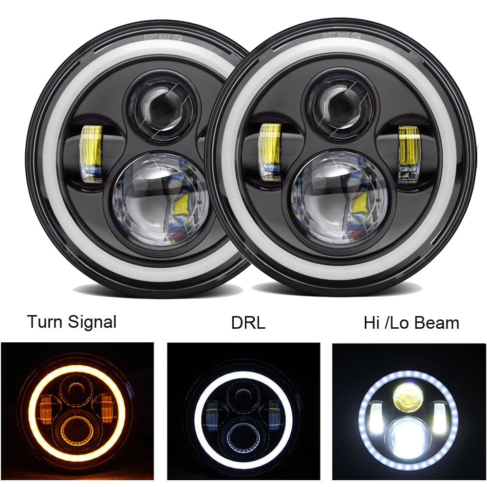2 pcs Car LED 7 Inch Round Headlight Conversion Kit For Beetle Classic Volkswagen 1950 1979 Lada Niva 4X4 Uaz Hunter Headlamps