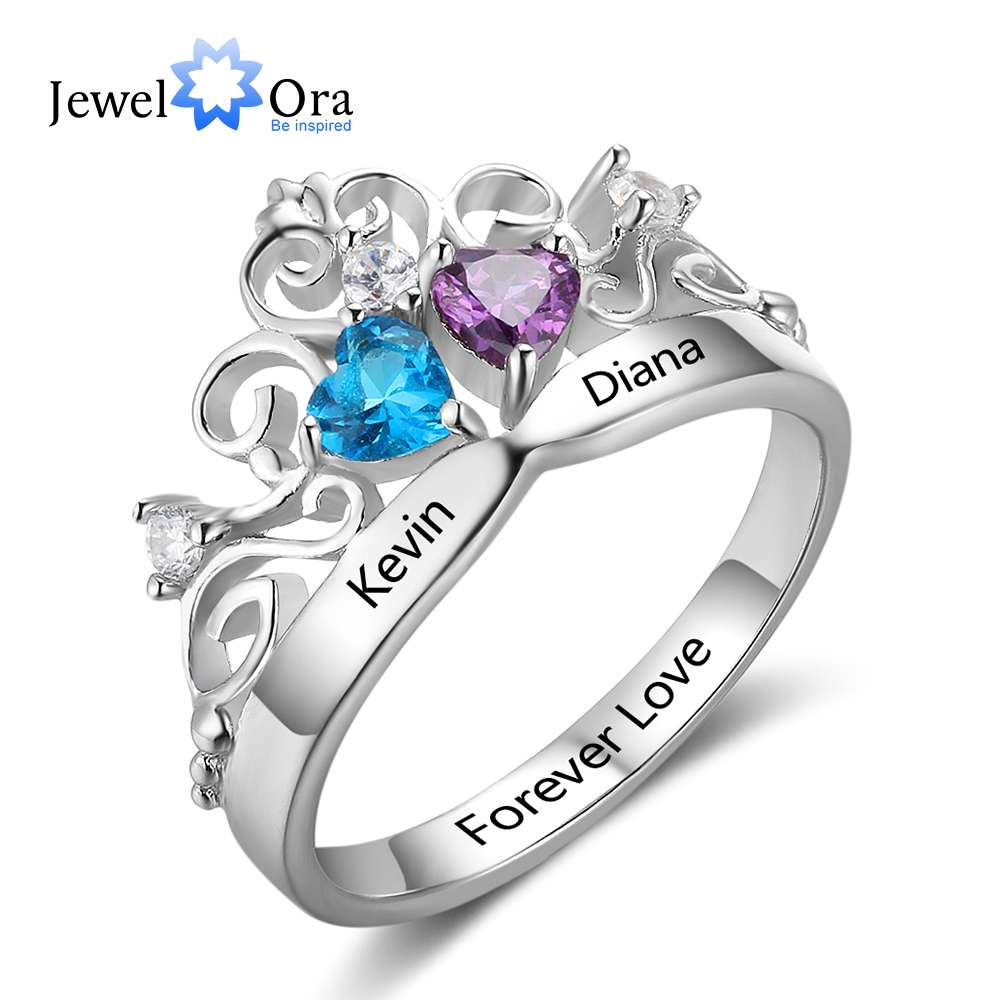 Art Pattern Crown Birthstone Ring 925 Sterling Silver Party Rings Engrave Name Anniversary Personalise Gift (JewelOra RI102878)Art Pattern Crown Birthstone Ring 925 Sterling Silver Party Rings Engrave Name Anniversary Personalise Gift (JewelOra RI102878)