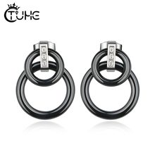 2019 Punk Black White Colour Circle Ceramic Earrings for Women Vintage Geometric Statement Bohemian Fashion Jewelry