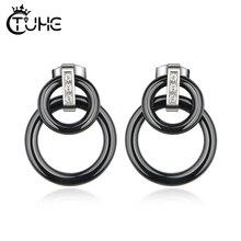 2019 Punk Black White Colour Circle Ceramic Earrings for Women Vintage Geometric Statement Bohemian Fashion Jewelry