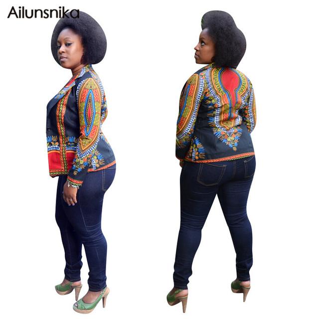 Ailunsnika 2017 otoño nueva llegada ropa exterior africana vintage ethnic print de manga larga abrigos casual chaquetas delgadas os2147
