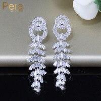Pera高品質シルバーカラー宝飾高級ロングドロップキュービックジルコニア石ビッグ宙ぶらりんイヤリング用女性パーティーe033