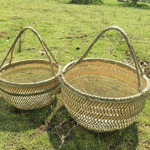 Image 2 - Round large bamboo wicker basket straw rattan handmade organizer baskets for storage bread fruit Laundry Panier Osier Picnic