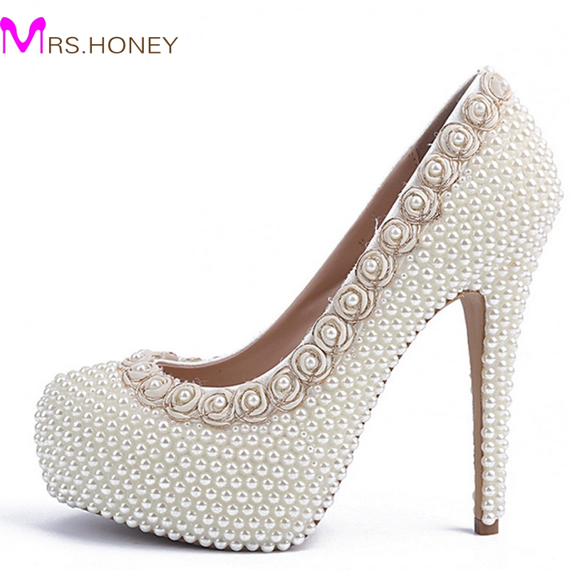 2016 Luxurious Ivory Pearl High Heels Wedding Bridal Dress Shoes New Arrived Round Toe Lady's Party Proms shoes Size 34-41 luxurious elegant ivory pearl wedding party dancing shoes bridal shoes pointed toe kitten heeled shoes woman lady dress shoes