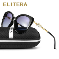 ELITERA Fashion Butterfly Pearl Sunglasses Women Mirror Polarized UV400 Sun Glasses Brand Designer With Original Box