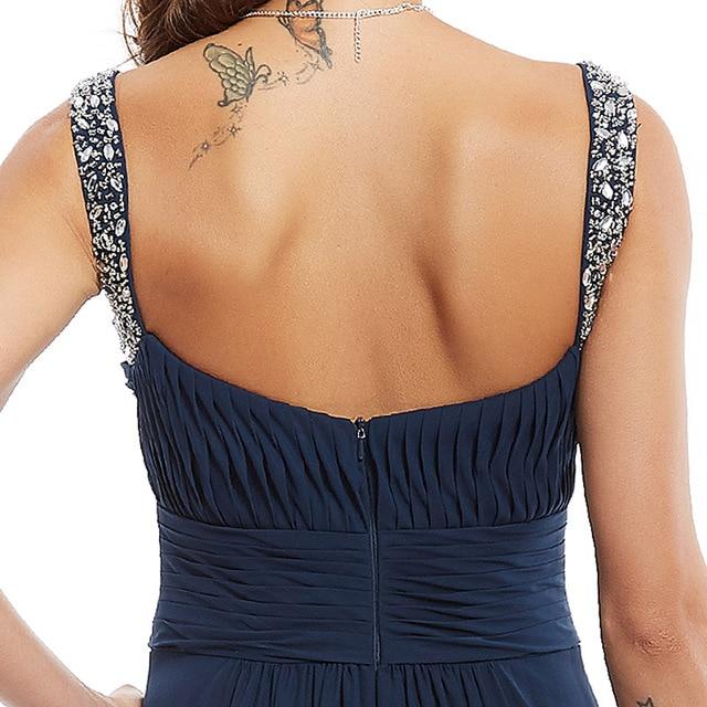 Dressv dark navy long evening dress cheap beading ruched sleeveless wedding party formal dress a line evening dresses 5