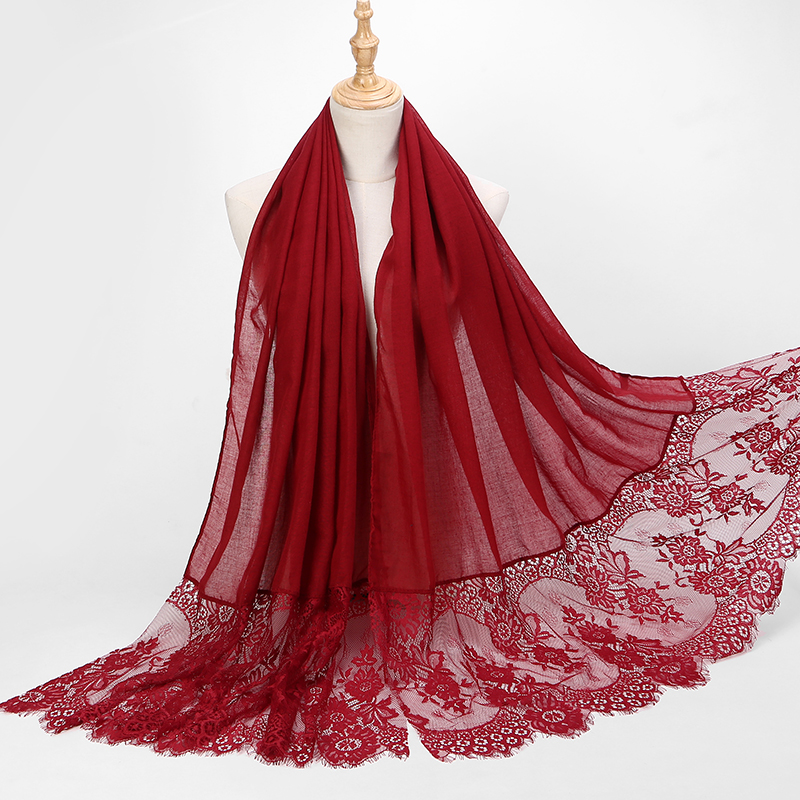 1 Pc Popular Lace Edges Scarf Hijab Woman Plain Maxi Shawl Wrap Flower White Lace Foulard