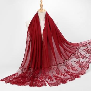 1 Pc Popular Lace Edges Scarf Hijab Woman Plain Maxi Shawl Wrap Flower White Lace