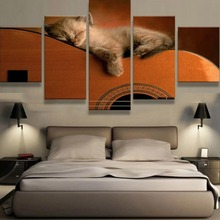 5 Pcs HD Print Large Cat and Guitar Modern Decorative Paintings on Canvas Wall Art for Home Decorations Decor Picture