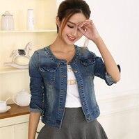 2017 Spring Women Denim Jacket Plus Size Long Sleeve Short Jeans Jacket Woman Denim Basic Coat
