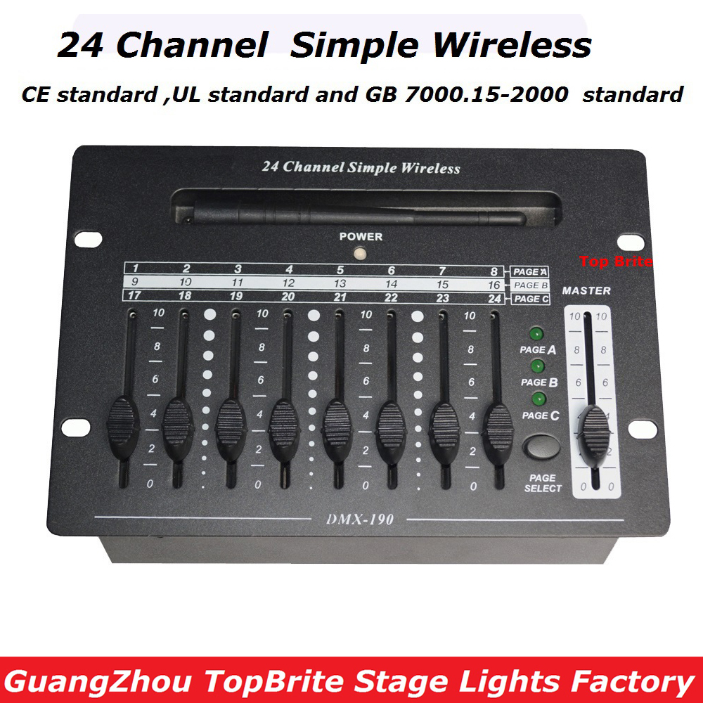2017 Fast Shipping High Quality 1Pcs/Lot 24 Channel Simple Wireless Console DMX512 Controller For Stage DJ Disco Laser Lights dhl fast free shipping wireless dmx512 dj controller