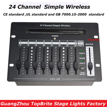 2017 Fast Shipping High Quality 1Pcs/Lot 24 Channel Simple Wireless Console DMX512 Controller For Stage DJ Disco Laser Lights