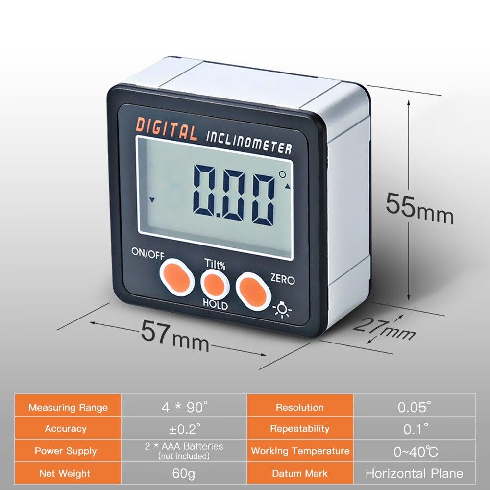 0-360 Triângulo governante Ângulo Transferidor Eletrônico Digital Inclinometer Ângulo Caixa De Escudo Da Liga de Alumínio Bitola Métrica Ímãs Base