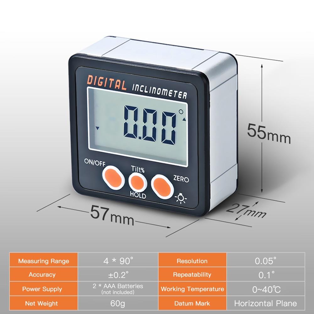 Digitale Neigungs 0-360 Winkel Dreieck lineal Elektronische Winkelmesser Aluminium Legierung Shell Box Winkel Gauge Meter Magneten Basis