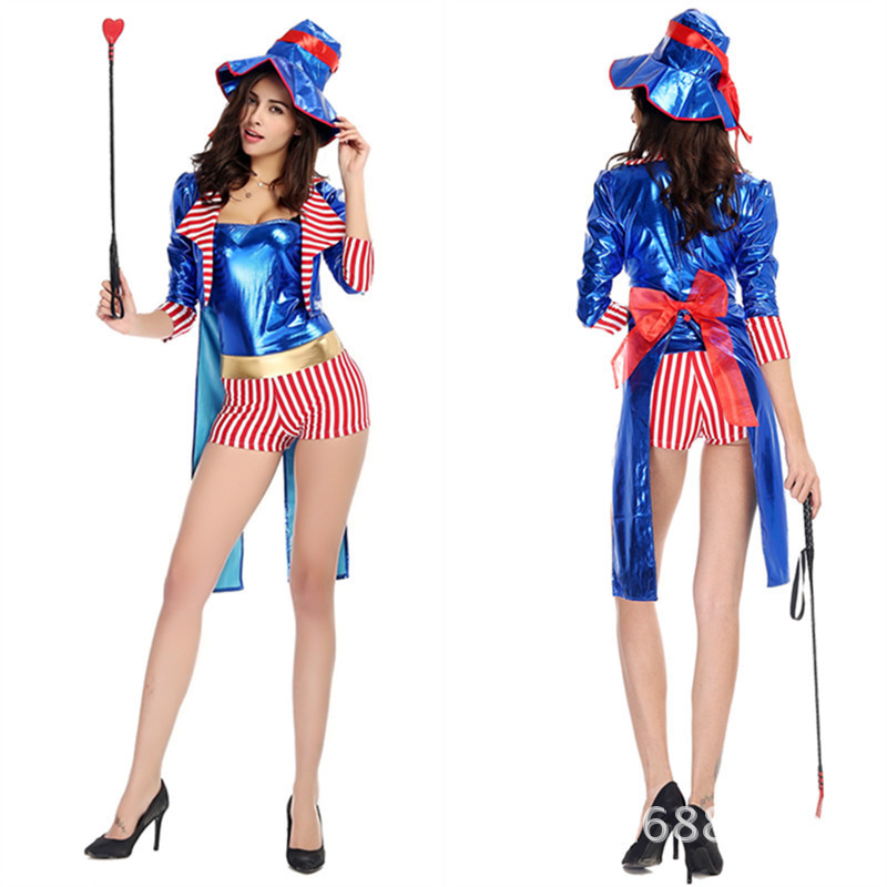 FREE SHIPPING zy438 deluxe costume Sexy Circus Ringmaster Lion Tamer Fancy Dress Halloween Costume
