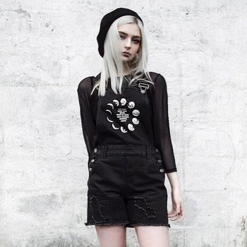 Summer Denim Shorts Women Rompers Pocket Loose Jeans Overall Casual Playsuits Gothic Shorts Moon Printed Black Female Jumpsuits 3