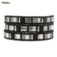black mix stone triple wrap bracelet leather black