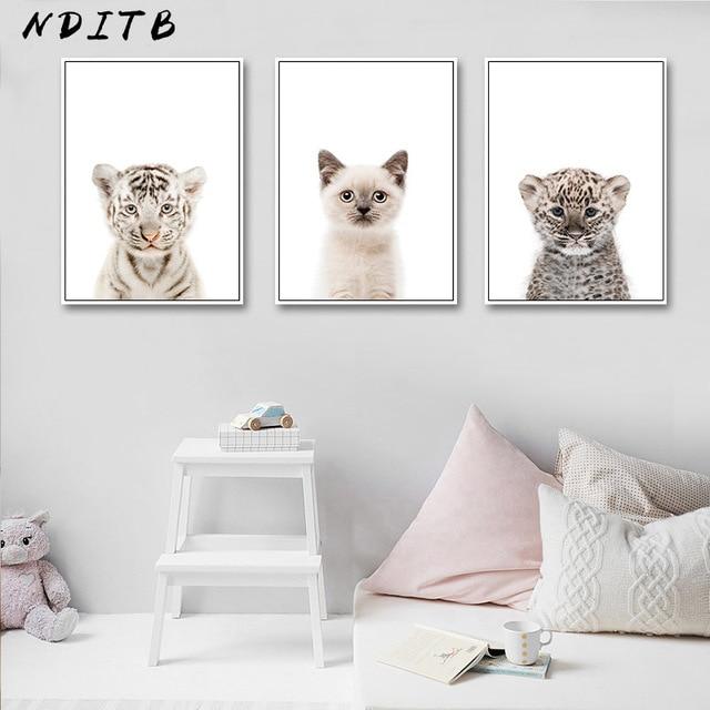 NDITB תינוק בעלי החיים חתול נמר פנדה קיר אמנות בד ציור משתלת נורדי והדפסי דקורטיבי תמונה ילדים חדר דקור