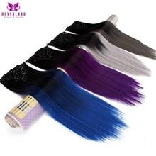 Neverland 24 inch 7 шт./компл. 16 клипы синтетические шиньоны прямой серый синий Ombre прическу клип-в полной головки волос