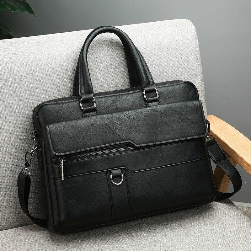 HTB1XUIBeQ9E3KVjSZFGq6A19XXaJ New Men Briefcase Bags Business Leather Bag Shoulder Messenger Bags Work Handbag 14 Inch Laptop Bag Bolso Hombre Bolsa Masculina