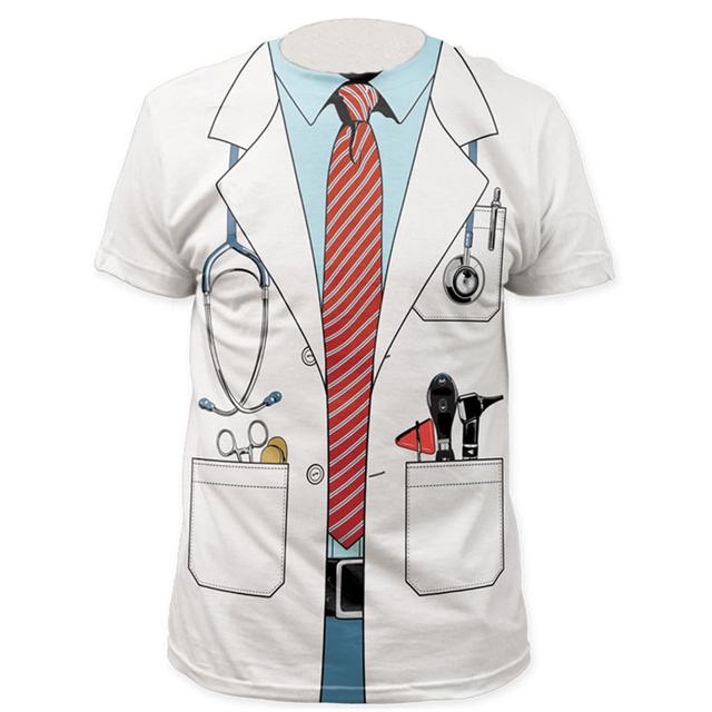 Homens Médico 3D Camiseta Cosplay Tee Piloto Pirata Marinheiro Partido Hollowen Adulto Polícia Cavalheiro Camisas de Manga Curta