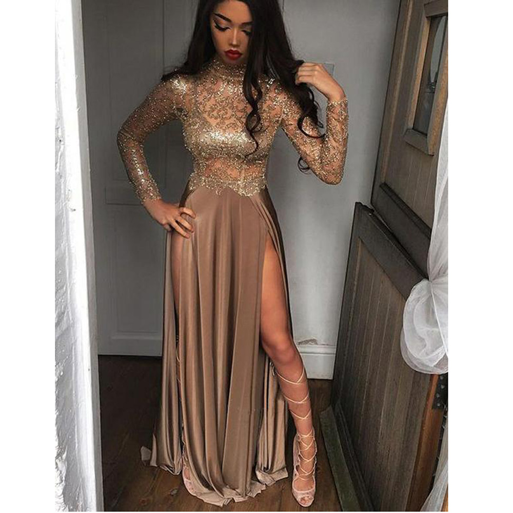High Neck Champagne Gold SParkly Sequin Sexy High Splits Illusion Long Sleeve   Prom     Dresses   Long Slit