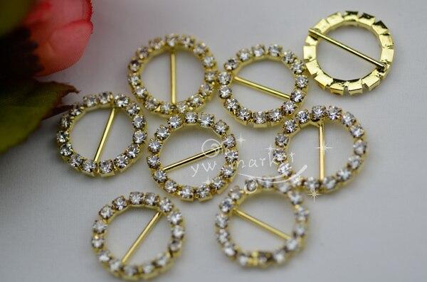 50 19.5mm Round Rhinestone Buckle Invitation Ribbon Slider Wedding Supply Golden