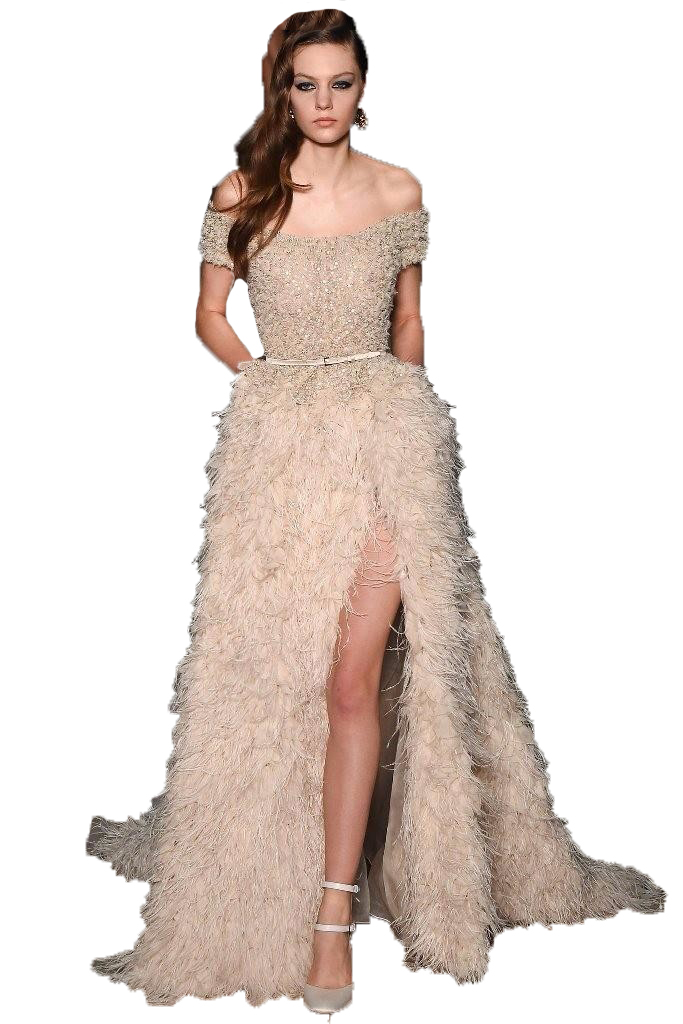Long feather dress
