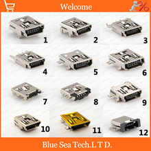 60 pcs 12 model MINI USB 5P Female Jacks Socket PCB Mount for Phone,MP4,5Pin 12 type/kinds USB combination sets,Brass shell
