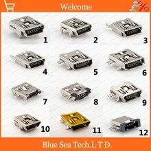 60 uds 12 modelo MINI USB 5P hembra Jacks Socket montaje PCB para teléfono, MP4,5 pines 12 tipo/tipos juegos de combinación USB, concha de latón