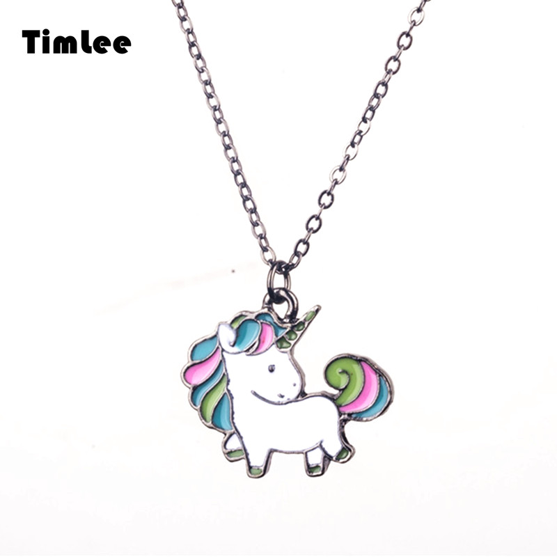 Timlee N056 Gratis frakt Cartoon Cute Rainbow Horse Unicorn Design Metal Halsband Fashion Smycken Partihandel