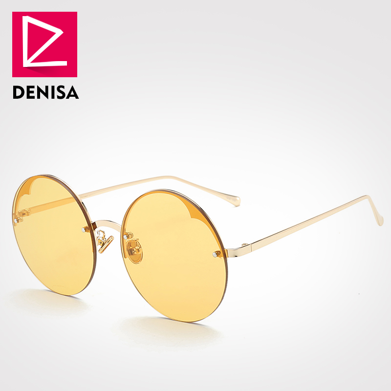 DENISA Fashion Unisex Vintage Round Sunglasses Women Men Steampunk Rimless Glasses Black Red Sun Glasses UV400 Zonnebril G17075