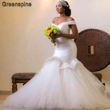 Greenspine Plus Size Mermaid Wedding Dresses 2019 Caftan