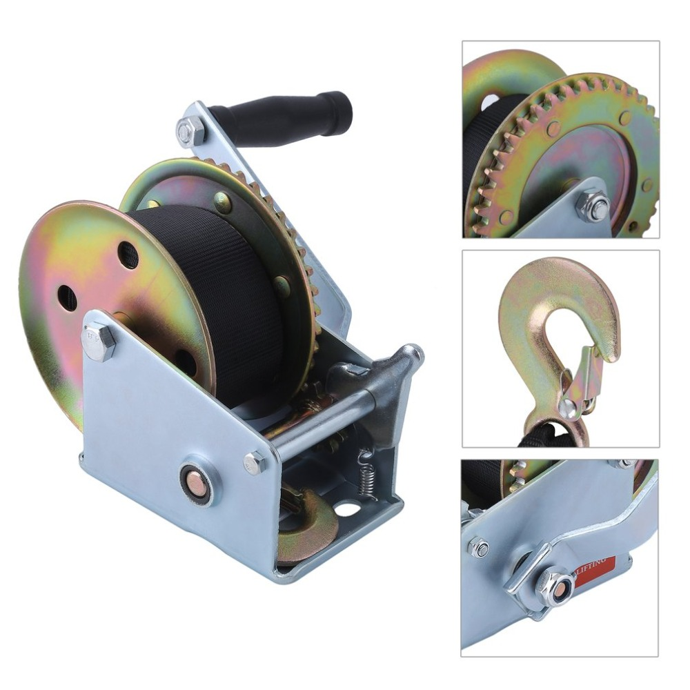 Manual 1500lbs*8m Polyester Fiber Strap Cable Hand Boat Trailer Winch Two Gears Puller Hand Tool Lifting Sling Hot Sale professional manual winch with strap 1500kg 8 meters boat trailer lifting sling universal car hand power puller new