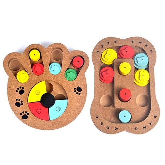 dogs puzzle toys bones paw prints wooden fun feeding multi
