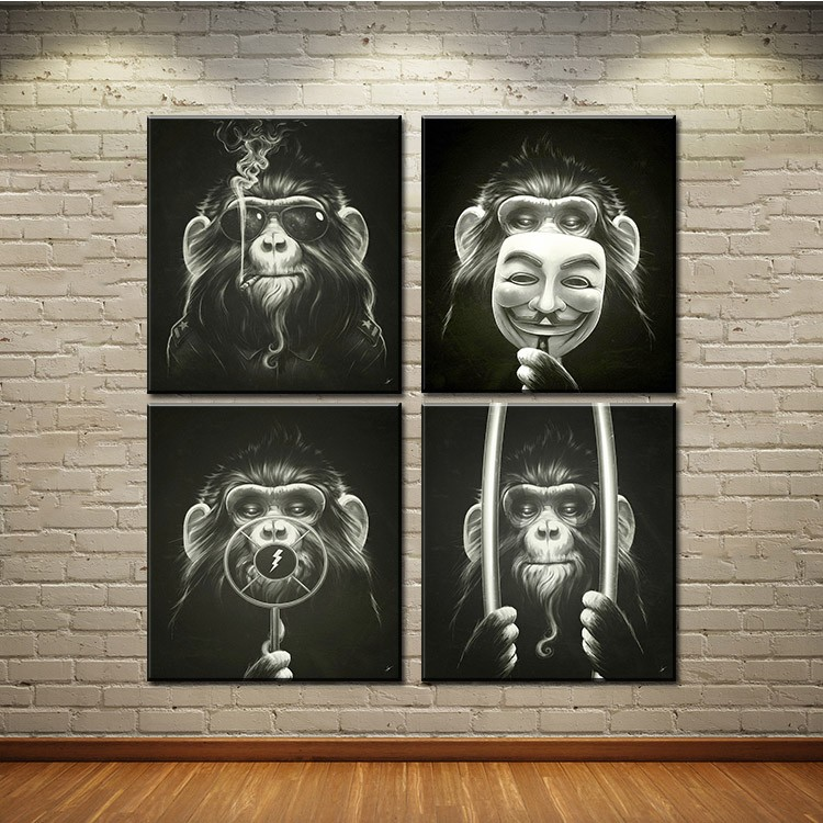 4Panel of one se tDecorative Pictures Balck Abstract Monkey Modern Smoking Picture print On Canvas Wall Oil Paintings No framed 4
