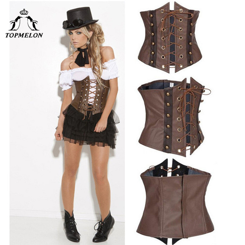 TOPMELON Underbust   Corsets   and   Bustiers     Corset   Steampunk   Bustier   Gothic Corselet   Corset   Women Brown Retro Rivet   Corset   Tops