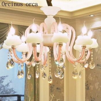 Europese stijl luxe kristallen kroonluchter restaurant kaars licht kinderen slaapkamer Romantische Prinses Kamer ROZE KROONLUCHTER