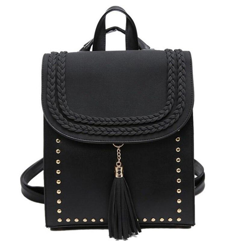 2017 Knitting Tassel Women Leather Backpack Teenage Girl School Bag Put The A4 Paper Mochila Escolar