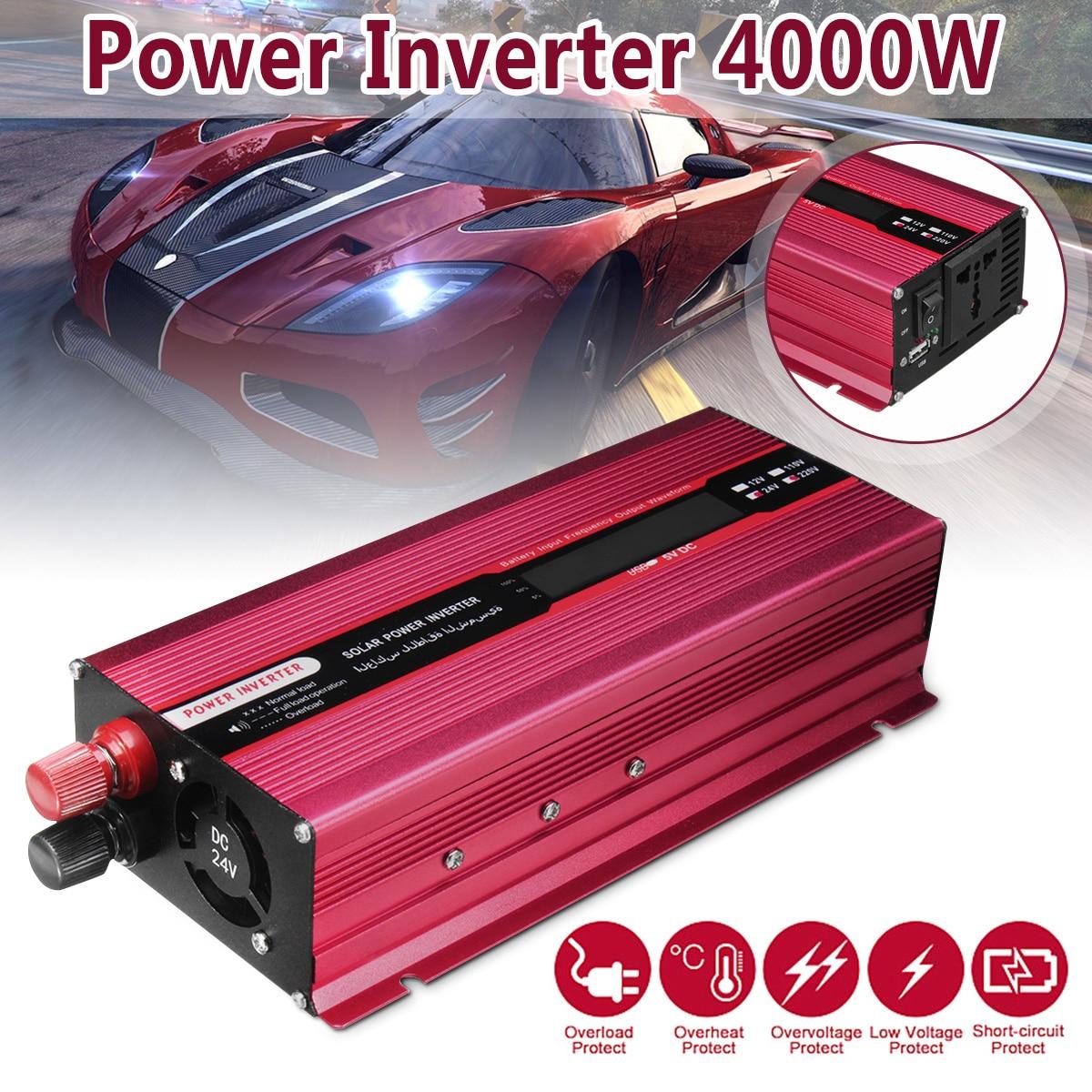 4000W Car Solar Power Inverter 12/24V To AC 220/110V USB Modified Sine Wave Converter Efficiency Aluminum Alloy Universal Socket4000W Car Solar Power Inverter 12/24V To AC 220/110V USB Modified Sine Wave Converter Efficiency Aluminum Alloy Universal Socket