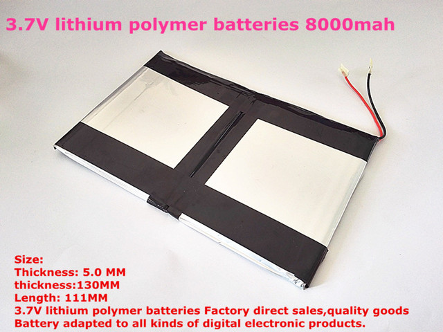 Free shipping 3.7V lithium polymer batteries high capacity 8000mah 9 -inch Tablet PC battery pack 50130111