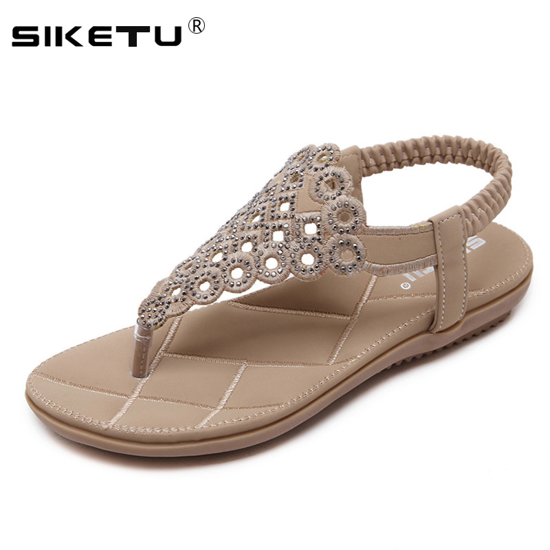 SIKETU Women Sandals Elastic-Band Summer Shoes Flat-Heels New-Fashion Crystal WSH2406