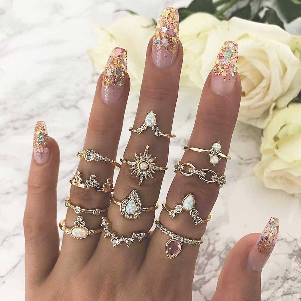 12 Pcs/set Bohemian Vintage Crown Air Tetes Bintang Geometris Crystal Set Cincin Wanita Pesona Cincin Bersama Pesta Pernikahan Perhiasan Hadiah