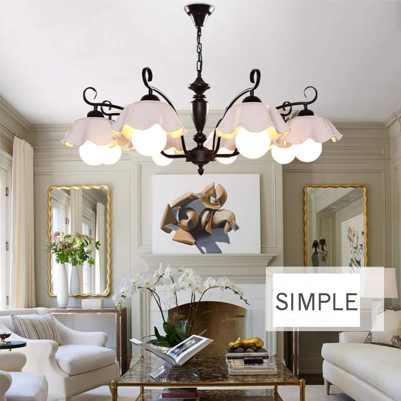 moderne kronleuchter beleuchtung fr dinning kche wohnzimmer design lampe schwarz eisen wei keramik lampenschirm e27 110 - Lampe Wohnzimmer Design