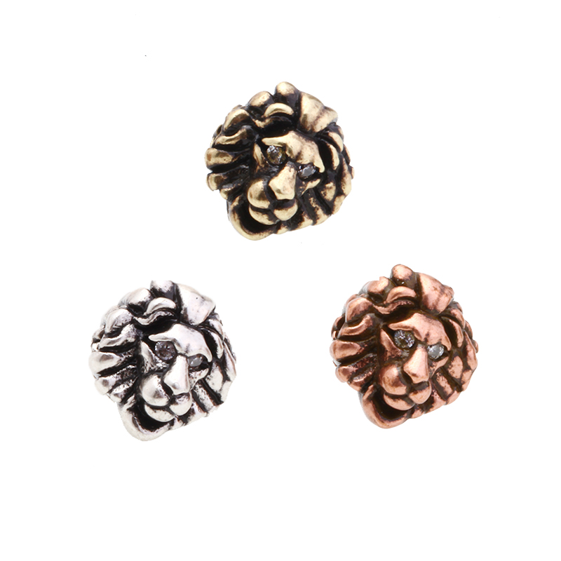 Magic Fish 1pcs Lion Diy Beads Alloy Inlaid White Zircon Wholesale Jewelry Lion Accessions Hand Made Men Bracelets Berloque Good For Antipyretic And Throat Soother Beads Jewelry & Accessories