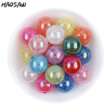 20MM 100Pcs/Lot Fashion Choose Color Gumball Bubblegum Acrylic Clear AB Crack Beads Colorful Chunky Beads For Necklaces Jewelry